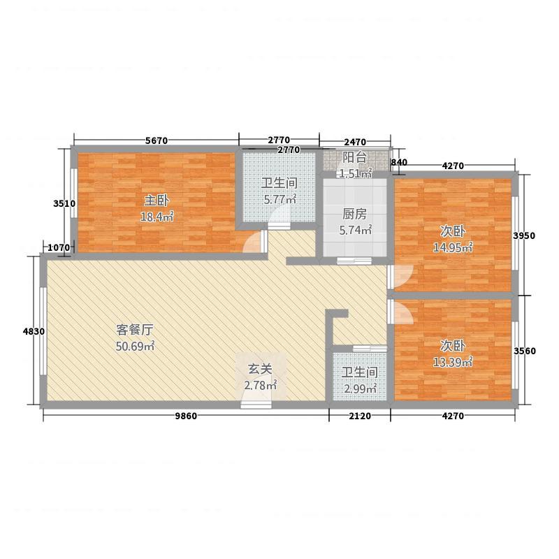 百家园138.80㎡A户型3室2厅2卫1厨