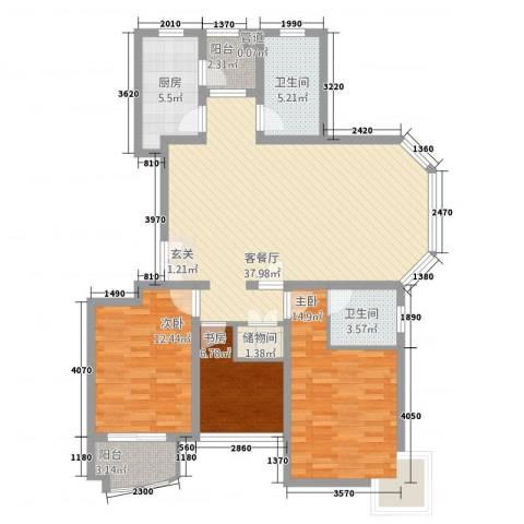 上海阳城3室1厅2卫1厨107.20㎡户型图