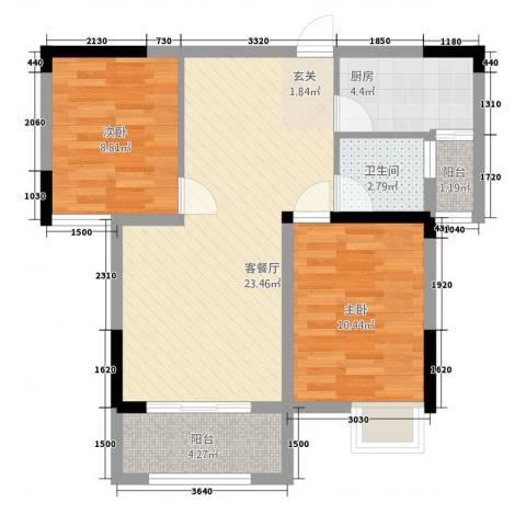 三盛颐景御园2室1厅1卫1厨55.35㎡户型图