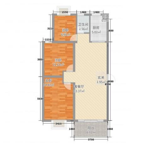 金马三区3室1厅1卫1厨112.00㎡户型图