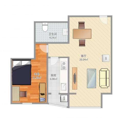 兴城丽源189号院1室1厅1卫1厨64.00㎡户型图