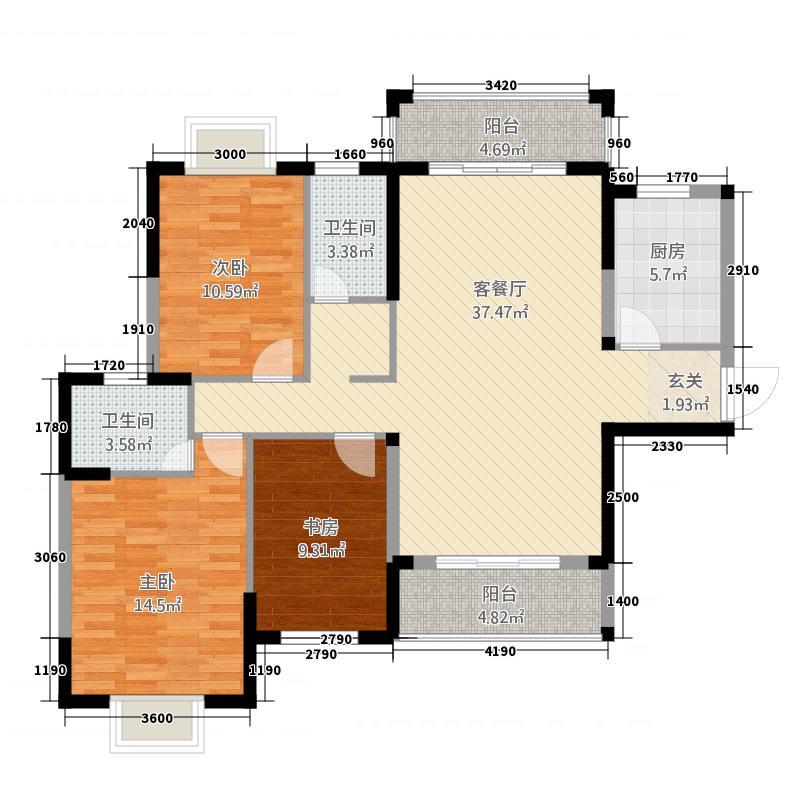 四季康城・幸福城125.41㎡D户型3室2厅2卫1厨