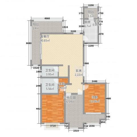 华富世家三期2室1厅2卫1厨175.00㎡户型图