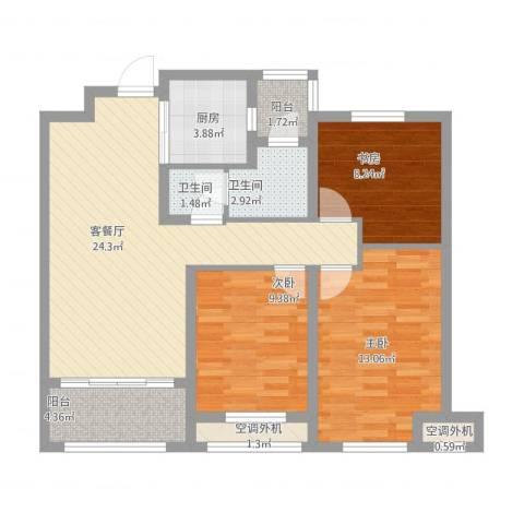 天朗五珑3室1厅2卫1厨105.00㎡户型图