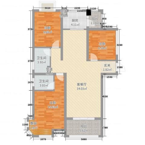 幸福世家3室1厅2卫1厨125.00㎡户型图