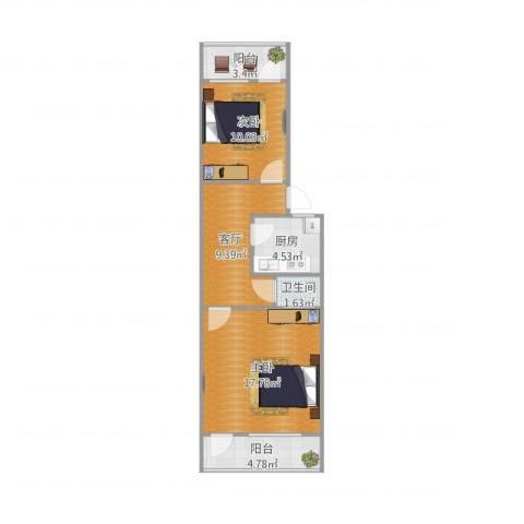 制锦市小区2室1厅1卫1厨70.00㎡户型图
