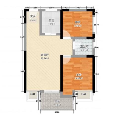 书香门第2室1厅1卫1厨75.00㎡户型图
