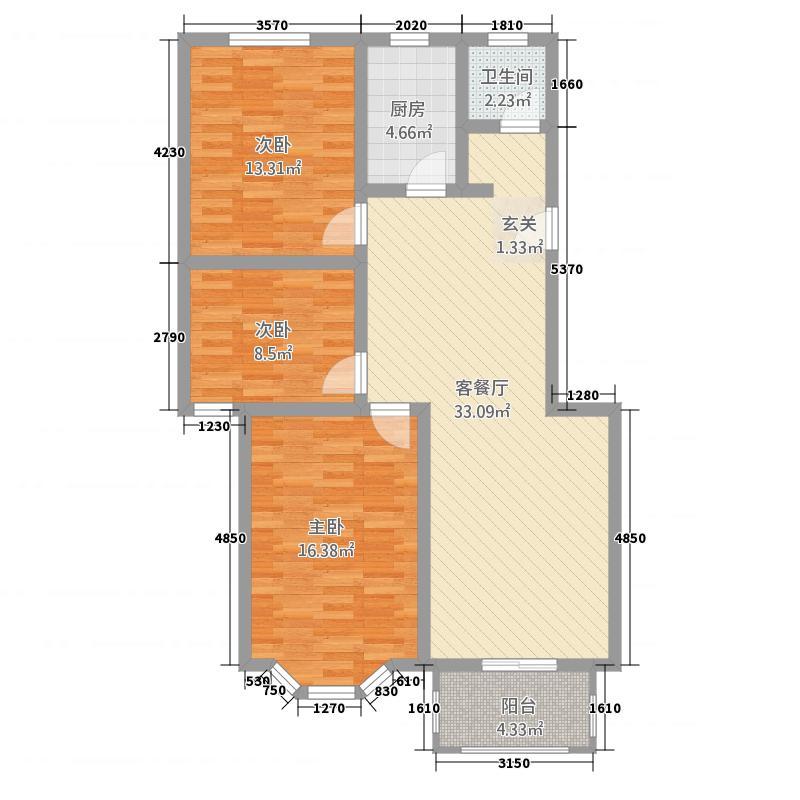 广厦水岸美景116.00㎡2户型3室2厅1卫1厨