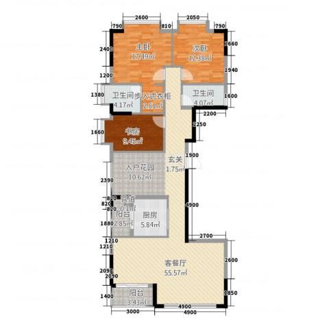 ��荟3室1厅2卫1厨156.00㎡户型图