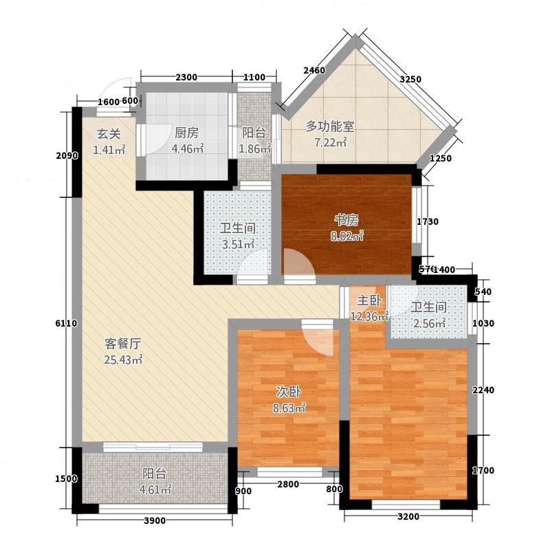聚城峰华3387.62㎡B3户型3室2厅2卫1厨