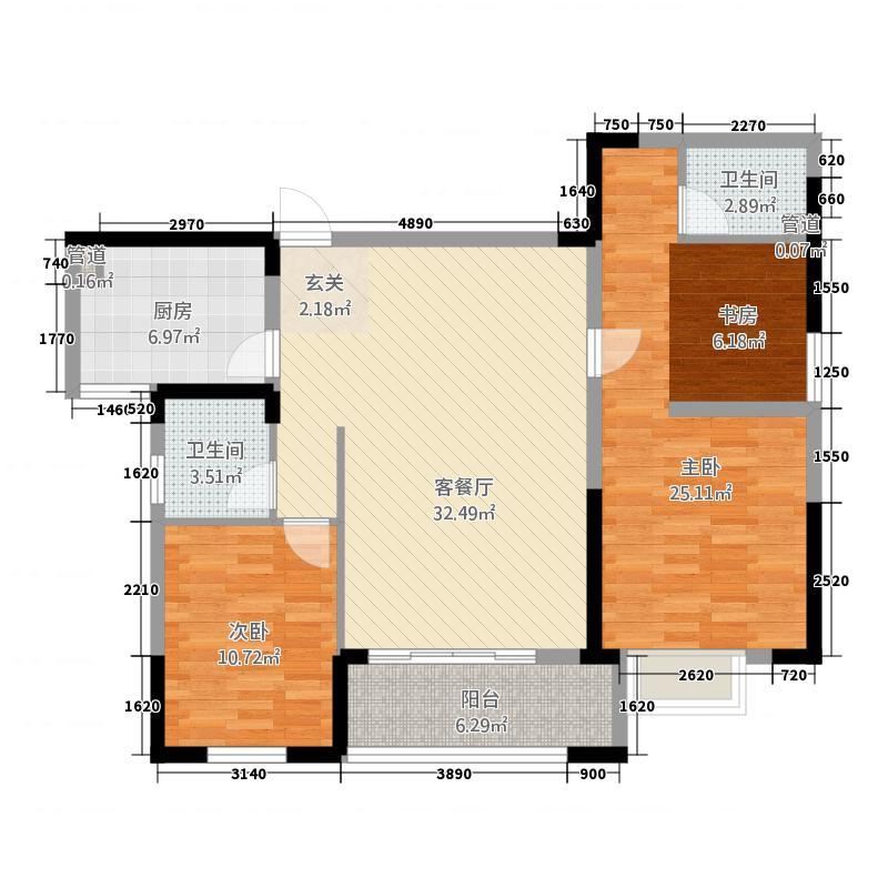 和顺华府124.61㎡7栋C1户型3室2厅2卫1厨