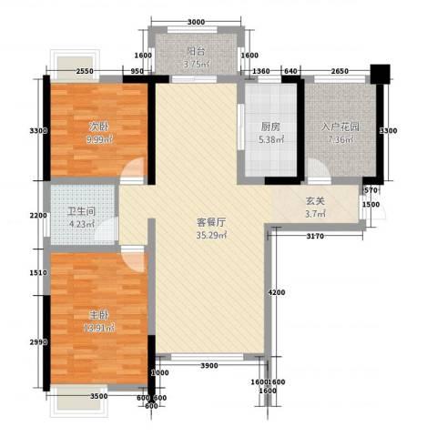 鼎盛鑫城2室1厅1卫1厨115.00㎡户型图