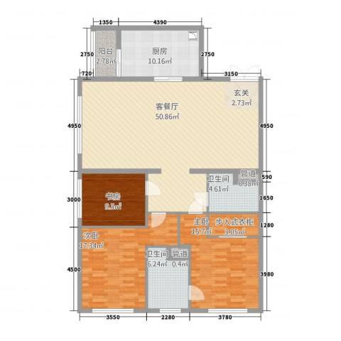 太原茂业天地3室1厅2卫1厨125.00㎡户型图