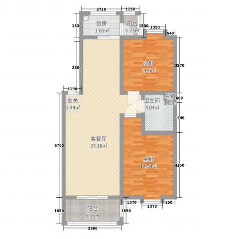 银领花园2室1厅1卫1厨96.00㎡户型图