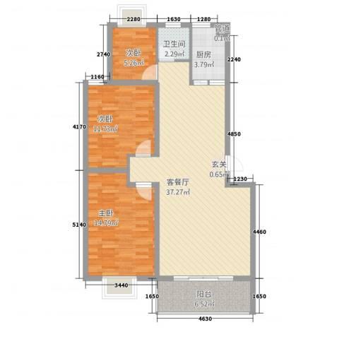 金马三区3室1厅1卫1厨116.00㎡户型图