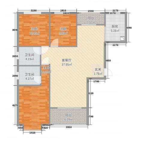 一品江南3室1厅2卫1厨96.22㎡户型图
