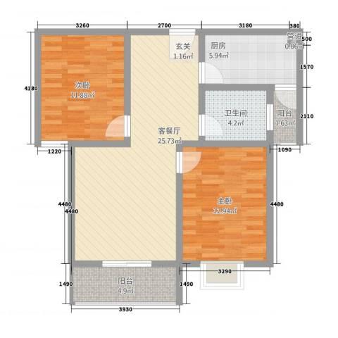 水韵江南2室1厅1卫1厨67.29㎡户型图