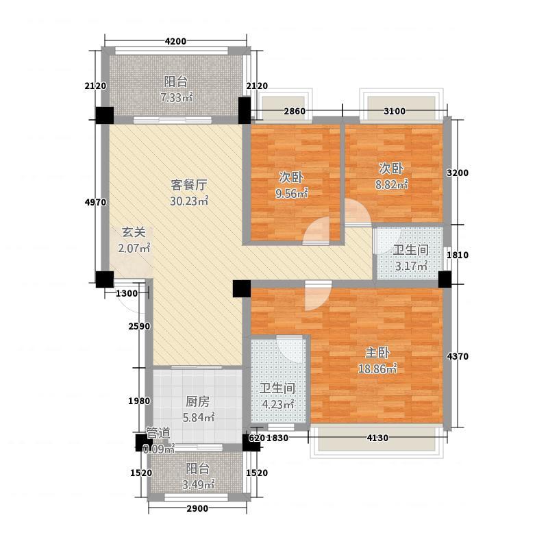 阳晨・秀水湾3218.73㎡E户型3室2厅2卫1厨