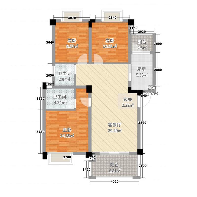 阳晨・秀水湾3213.64㎡D户型3室2厅2卫1厨
