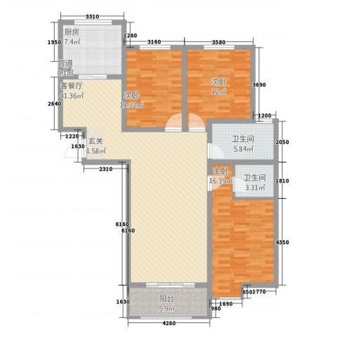 水韵江南3室1厅2卫1厨103.64㎡户型图