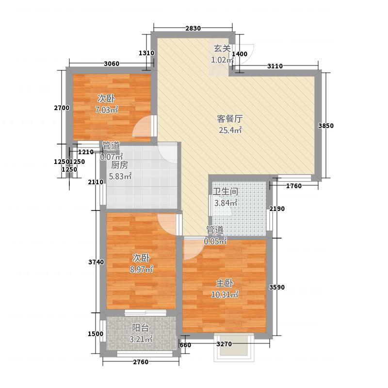 翰林名苑2.57㎡D1户型3室2厅1卫1厨