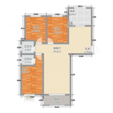 水韵江南3室1厅2卫1厨103.25㎡户型图