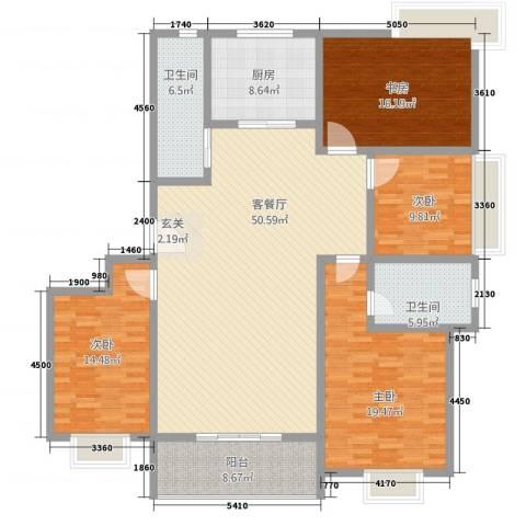 水韵江南4室1厅2卫1厨140.31㎡户型图