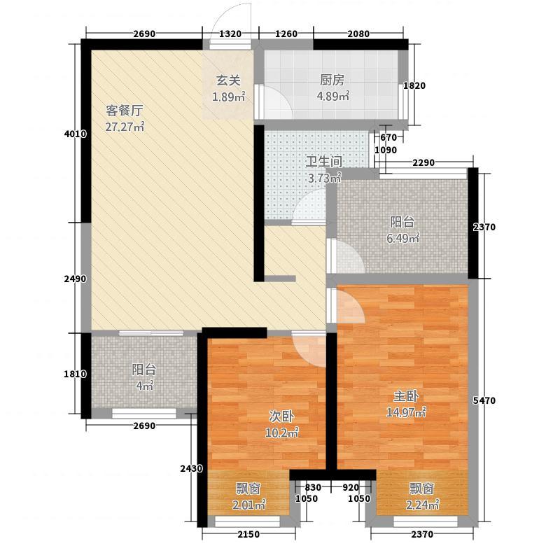 新日世纪城87.86㎡E3户型2室2厅1卫
