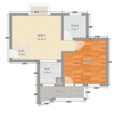 新天地花园1室1厅1卫1厨65.00㎡户型图