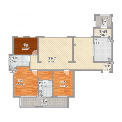 万科金色家园3室1厅2卫1厨167.00㎡户型图