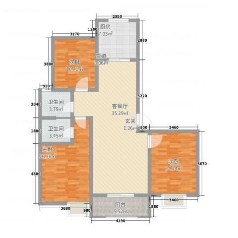 水韵江南3室1厅2卫1厨96.15㎡户型图