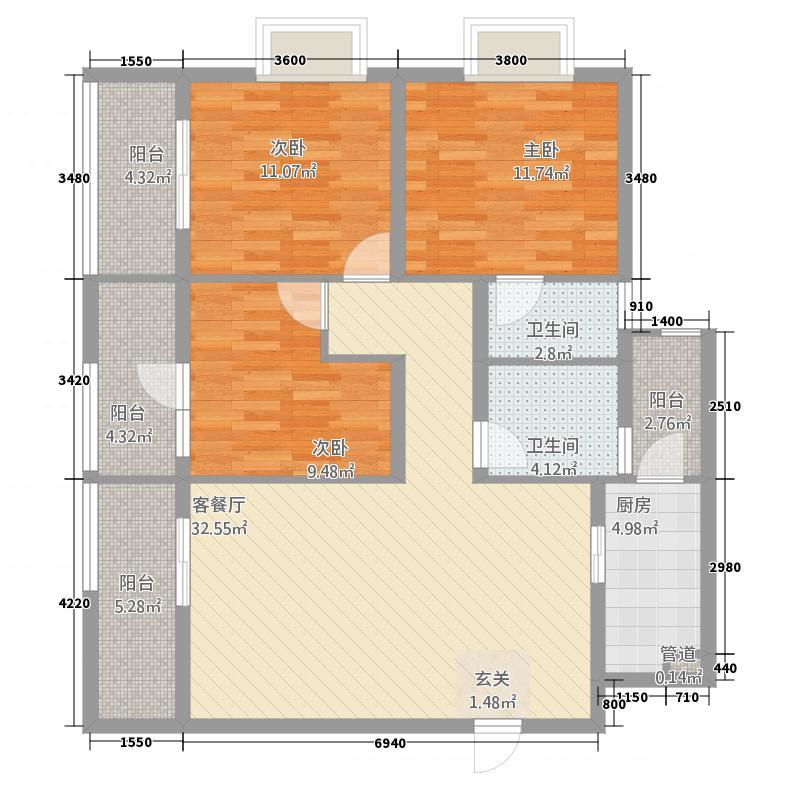 山海龙岛114.24㎡1#户型3室2厅2卫1厨