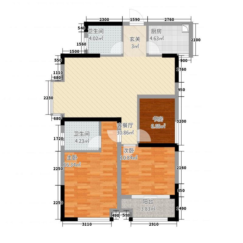 金鹏99城市广场1.42㎡6户型3室2厅2卫1厨