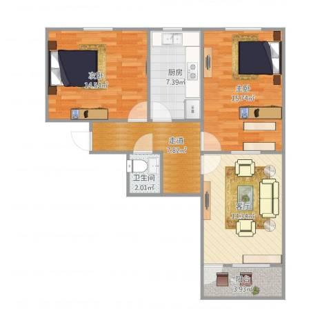 二七南路宿舍2室1厅1卫1厨89.00㎡户型图