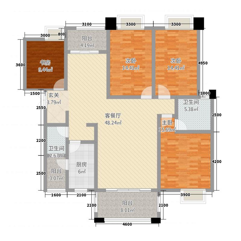 外滩1号161.11㎡A1户型4室2厅2卫1厨