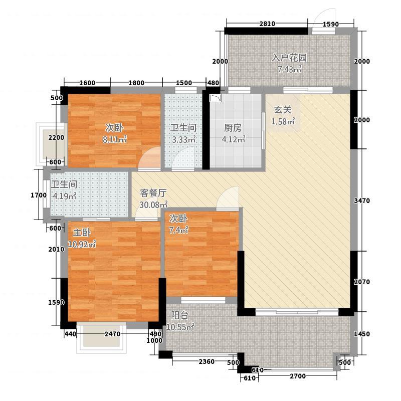 客家新世界112.00㎡A7A901户型3室2厅2卫1厨