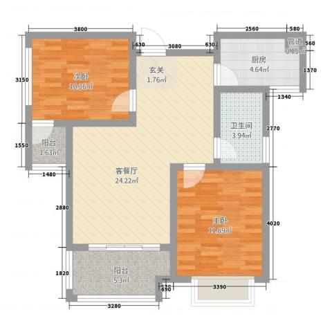 幸福世家2室1厅1卫1厨62.13㎡户型图
