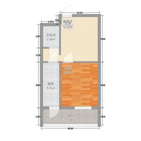 观澜金座1室1厅1卫1厨52.00㎡户型图