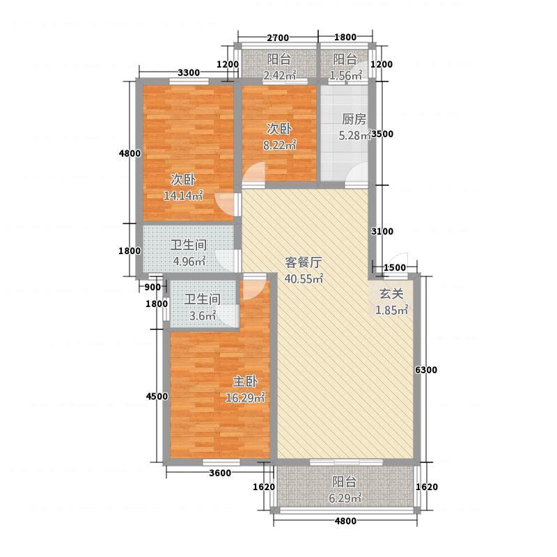 交大银座11.64㎡D型户型3室2厅2卫1厨