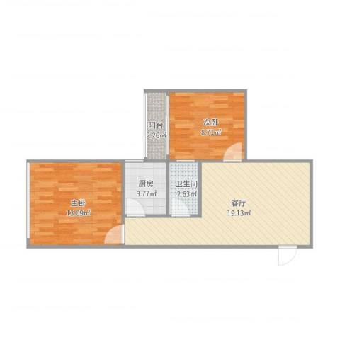 七里堡小区2室1厅1卫1厨67.00㎡户型图
