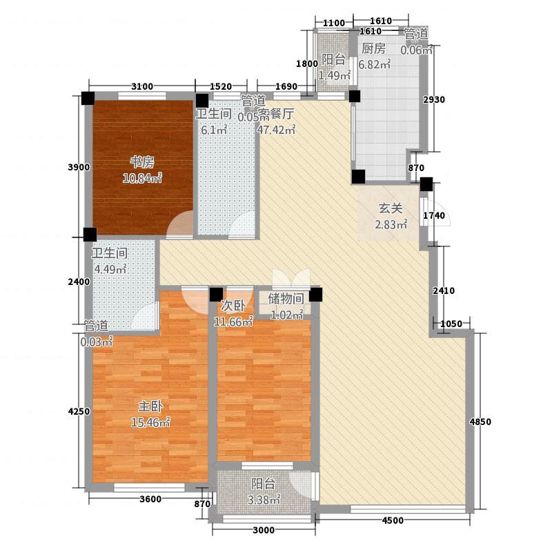 海创半山壹号14.00㎡18-25号楼B户型3室2厅2卫1厨