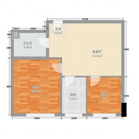 山景铭城2室1厅1卫1厨81.00㎡户型图
