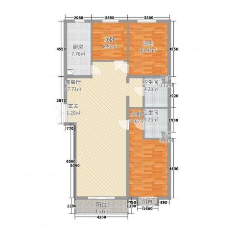 名购广场3室1厅2卫1厨132.00㎡户型图