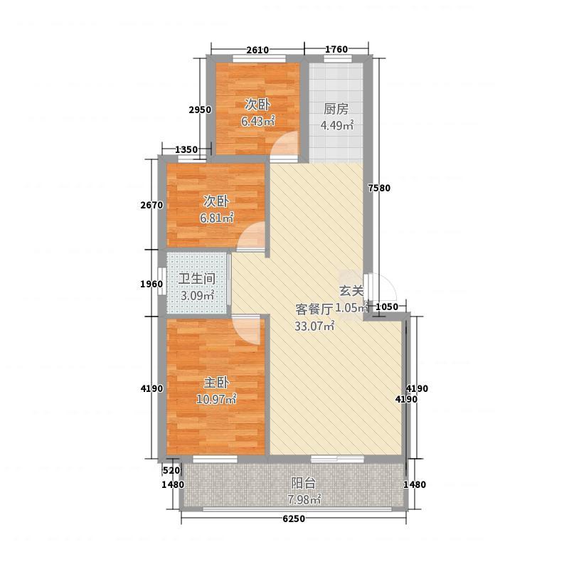 幸福家园7.80㎡户型3室2厅1卫1厨