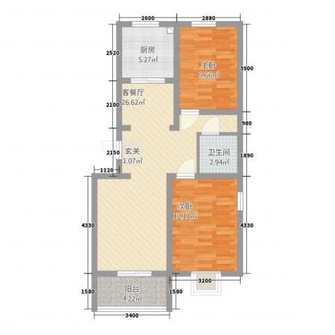 龙城嘉园2室1厅1卫1厨89.00㎡户型图