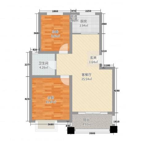 新天地花园2室1厅1卫1厨88.00㎡户型图