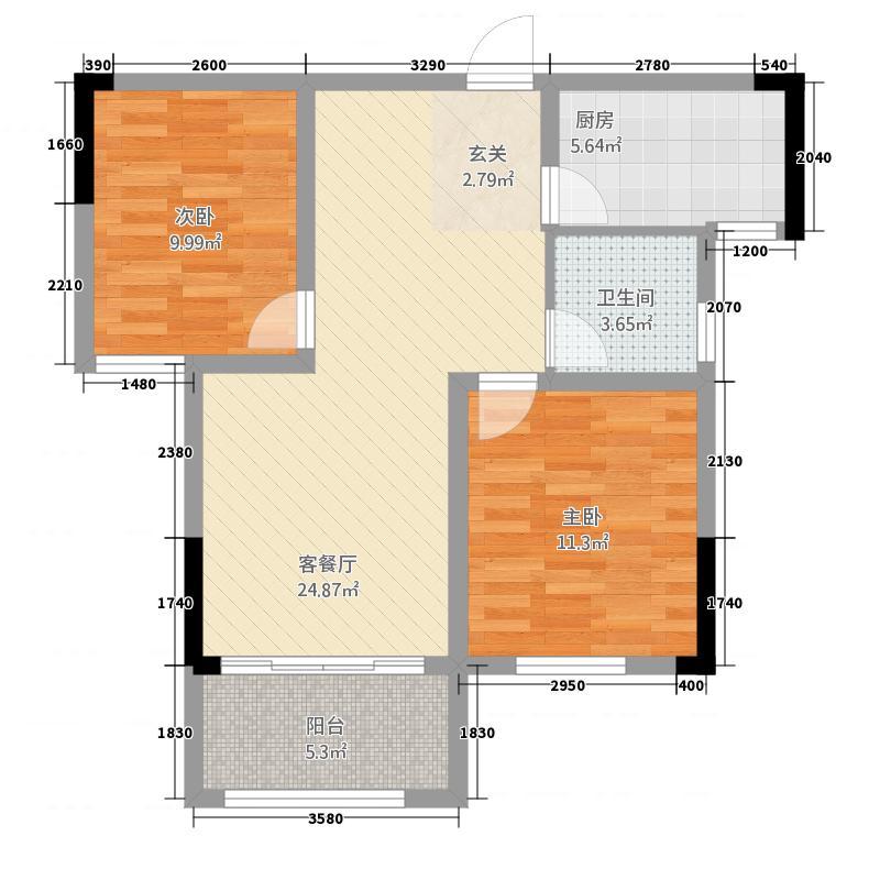 鑫佳玫瑰园81.60㎡B2户型2室2厅1卫1厨