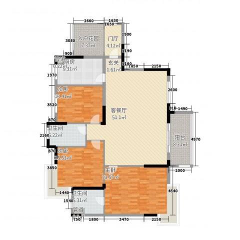 高桥皮具城3室1厅2卫1厨200.00㎡户型图