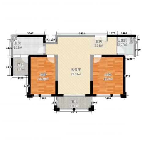 衡山城2室1厅1卫1厨81.60㎡户型图