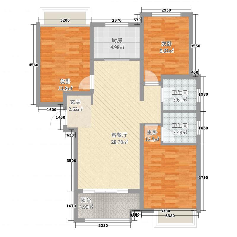 �泉湾113.80㎡二期B1-3户型
